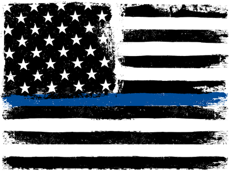Ilustración de American Flag with Thin Blue Line. Grunge Aged Background. Monochrome gamut. Black and white. - Imagen libre de derechos