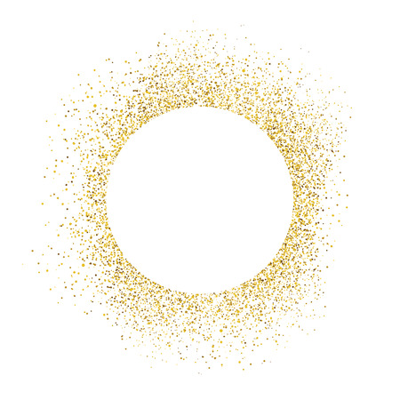Illustrazione per Gold sparkles on white background. White circle shape for text - Immagini Royalty Free