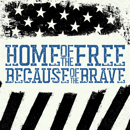 Illustration pour Thin Blue Line Flag. American Flag with Thin Blue Line. Home of the free, because of the brave. Grunge Background. - image libre de droit