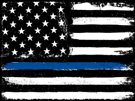 Ilustración de Thin Blue Line. Black Flag with Police Blue Line. - Imagen libre de derechos