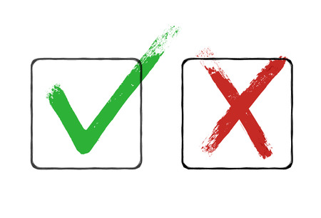 Illustration pour Grunge checkmarks in checkbox. Red and green. Vector clipart - image libre de droit