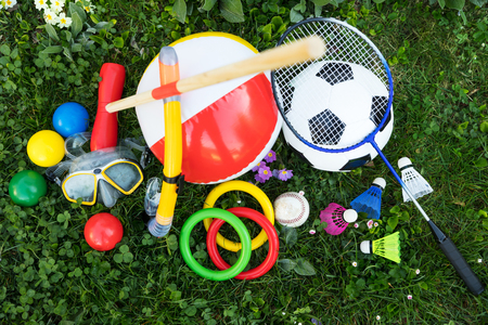 spring or  summer with various outdoor fun equipment, topview
