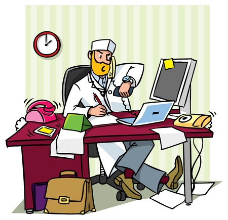 Ilustración de Busy chief doctor in a office  at the table writing, talking on the phone, looks at his watch - Imagen libre de derechos
