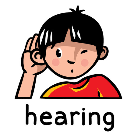 Illustration pour Icons of one of five senses - hearing. Children vector illustration of boy in red t-shirt who bulge ear and listening - image libre de droit