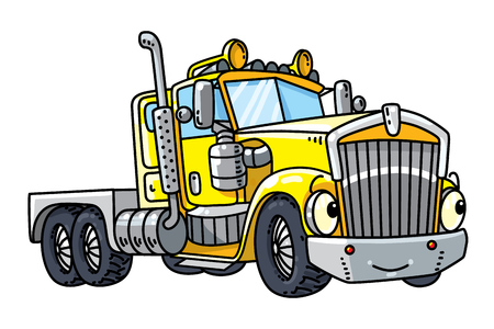 Illustration for Funny heavy truck with eyes - Royalty Free Image