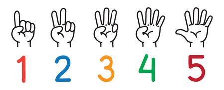 Ilustración de Hands with fingers. Icon set for counting education. - Imagen libre de derechos
