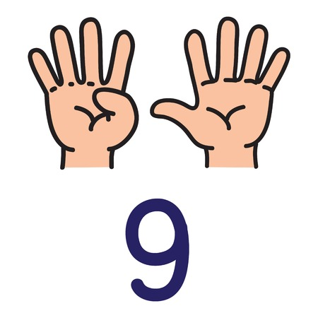 Illustration pour Kids hand showing the number nine hand sign. - image libre de droit