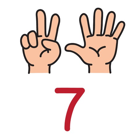 Illustration pour Kids hand showing the number seven hand sign. - image libre de droit