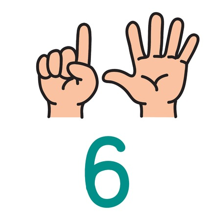 Illustration pour Kids hand showing the number six hand sign. - image libre de droit