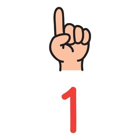 Ilustración de Kid's hand showing number one hand sign. - Imagen libre de derechos