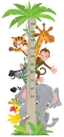 Ilustración de Cheerful funny giraffe, tiger, elephant, zebra, parrot and monkey. Height chart or meter wall or wall sticker. Childrens vector illustration with scale from 50 to 140 centimeter. - Imagen libre de derechos