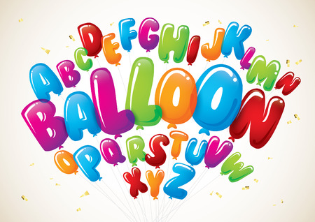 Illustration pour Vector of colorful balloon font and alphabet - image libre de droit