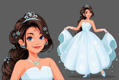 Illustration for Beautiful cute princess with long braided hairstyle holding her long white dress vector illustration - Royalty Free Image