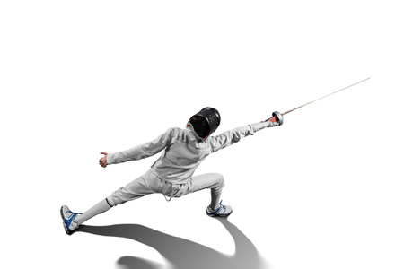 Photo pour male fencer in action isolated - image libre de droit