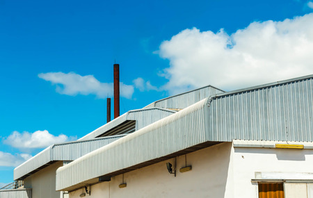 Photo for Architectural detail of metal roofing on commercial construction - Royalty Free Image