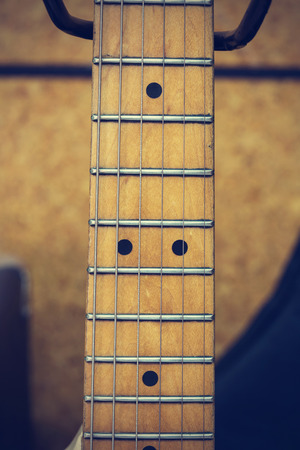 Close up macro of guitar strings vintage style
