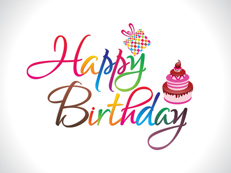 Illustration for abstract colorful happy birthday text vector illiustration - Royalty Free Image