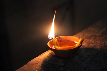 Photo for indian burning soil lamp in diwali night - Royalty Free Image