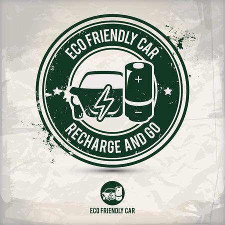 Ilustración de alternative eco friendly car stamp containing: two environmentally sound eco motifs in circle frames, grunge ink rubber stamp effect, textured paper background - Imagen libre de derechos