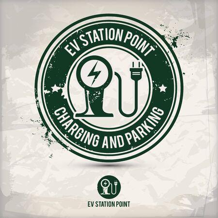 Ilustración de alternative ev station point stamp containing: two environmentally sound eco motifs in circle frames, grunge ink rubber stamp effect, textured paper background - Imagen libre de derechos
