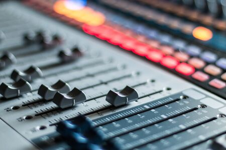 Photo for Professional music production in a sound recording studio, mixer desk - Royalty Free Image