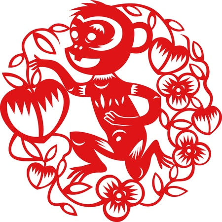 Chinese year of Monkey made by traditional chinese paper cut arts