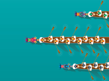 Ilustración de Chinese Dragon Boat competition illustration in high angle view - Imagen libre de derechos
