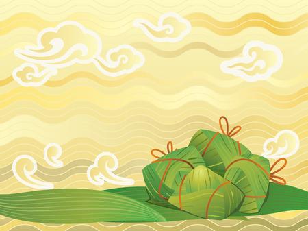 Illustration pour Chinese Rice Dumplings background illustration - image libre de droit