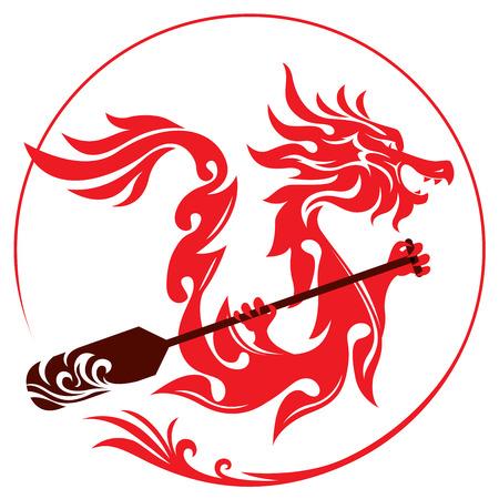 Ilustración de Dragon rowing the paddle graphic design - Imagen libre de derechos