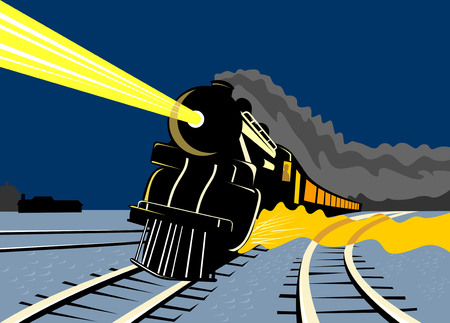 Illustration pour Vintage train traveling in the night - image libre de droit