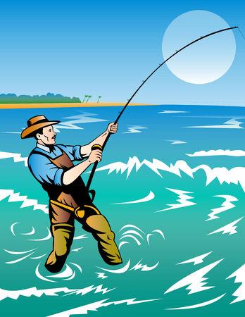 Fisherman surf casting