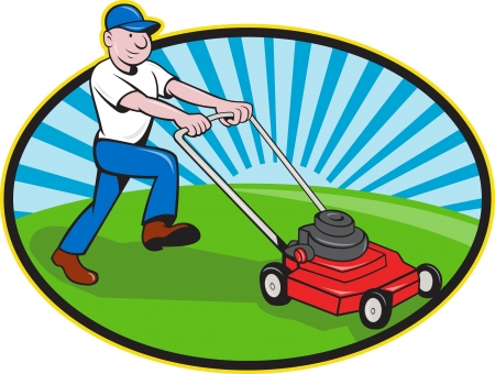 Illustration pour Illustration of landscaper gardener pushing lawn mower smiling facing side done in cartoon style on isolated white background  - image libre de droit