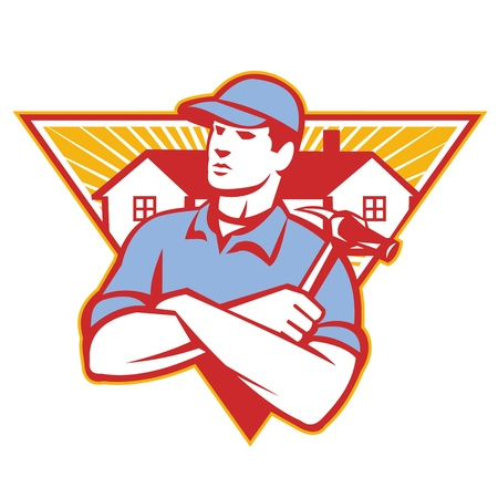Photo pour Illustration of a builder construction worker with hammer arms crossed with house in background set inside triangle  done in retro style. - image libre de droit