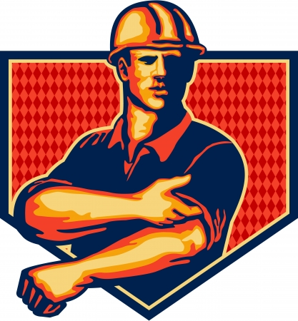 Ilustración de Illustration of a construction worker wearing hardhat rolling up sleeve facing front set inside shield done in retro style - Imagen libre de derechos