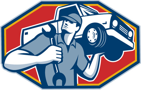 Illustration pour Illustration of an automotive mechanic carrying pick-up truck car vehicle on shoulder holding spanner wrench done in retro style. - image libre de droit