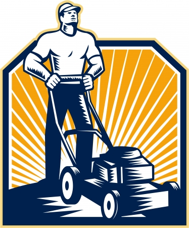 Illustration pour Illustration of male gardener mowing with lawn mower facing front done in retro woodcut style on isolated white background  - image libre de droit