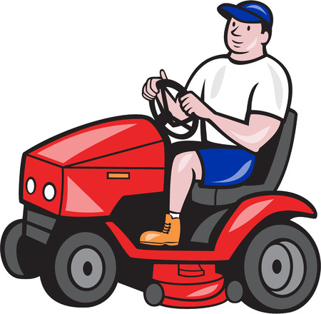 Illustration pour Illustration of male gardener riding mowing with ride-on lawn mower facing side done in cartoon style on isolated white background. - image libre de droit
