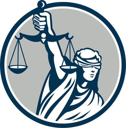 Ilustración de Illustration of blindfolded lady facing front holding and raising up weighing scales of justice set inside circle on isolated white background. - Imagen libre de derechos