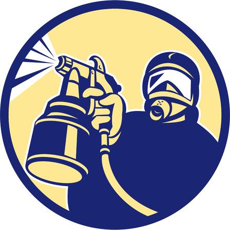Illustration pour Illustration of car painter holding paint spray gun spraying set inside circle done in retro style. - image libre de droit