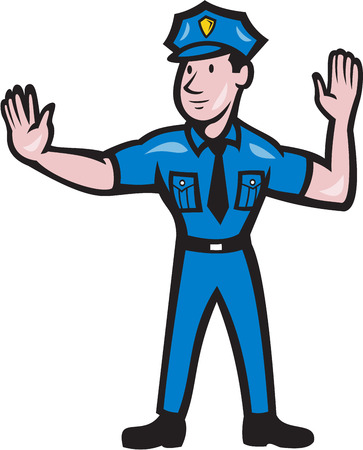 Illustration pour Illustration of a traffic policeman police officer making a stop hand signal gesture  done in cartoon style on isolated background. - image libre de droit