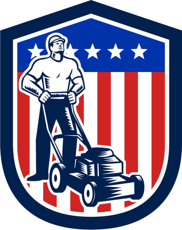 Illustration pour Illustration of male gardener mowing with lawn mower in american flag stars stripes set inside a shield done in retro woodcut style.  - image libre de droit