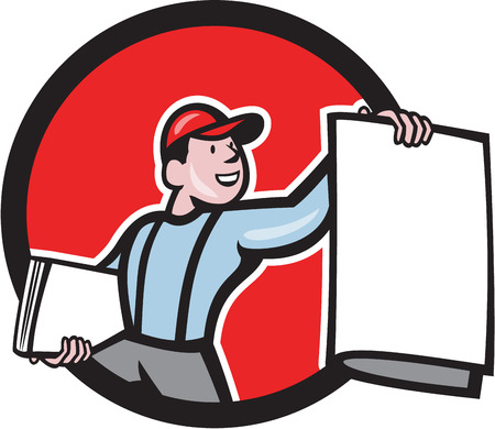 Ilustración de Illustration of a newsboy shouting selling newspaper set inside circle on isolated background done in cartoon style. - Imagen libre de derechos
