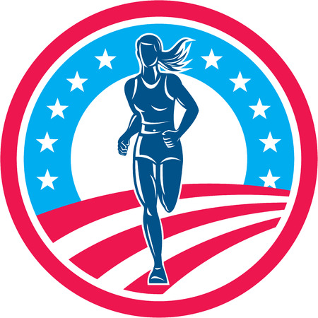 Ilustración de Illustration of an american marathon triathlete runner running winning finishing race set inside circle with stars and stripes in the background done in retro style. - Imagen libre de derechos