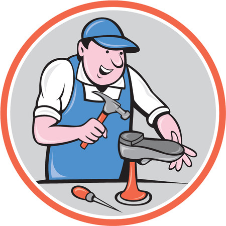 Ilustración de Illustration of a shoemaker cobbler shoe repair with hammer and shoe working set inside circle on isolated background done in cartoon style. - Imagen libre de derechos