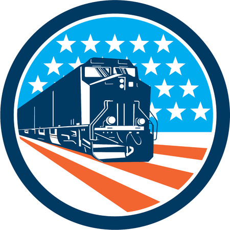 Illustration pour Illustration of a diesel train viewed from front set inside circle with american stars and stripes in the background done in retro style. - image libre de droit