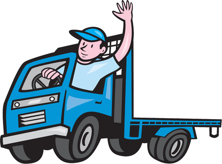 Ilustración de Illustration of a flatbed truck with driver waving hello on isolated white background done in cartoon style. - Imagen libre de derechos