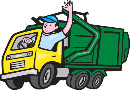 Ilustración de Illustration of a garbage rubbish truck with driver waving hello on isolated white background done in cartoon style. - Imagen libre de derechos