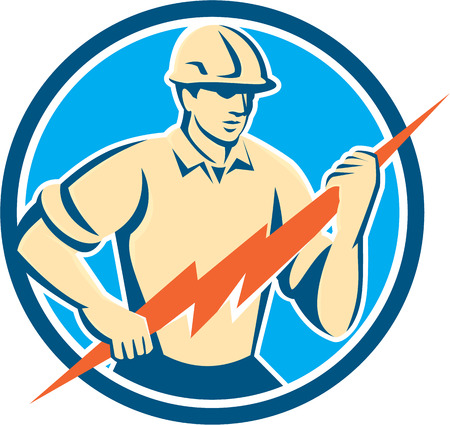 Ilustración de Illustration of an electrician construction worker holding a lightning bolt viewed from the front set inside circle done in retro style on isolated background. - Imagen libre de derechos