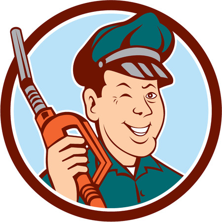 Ilustración de Illustration of gas gasoline fuel attendant worker winking smiling holding fuel pump nozzle  - Imagen libre de derechos
