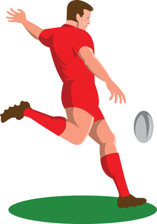 Ilustración de Illustration of a rugby player kicking ball viewed from side done in retro style set on isolated white background. - Imagen libre de derechos